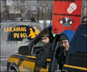 Caravane du gel des étudiants contre Jean Charest