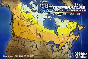 La température normale du 19 avril 2006