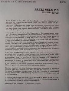 Communiqué de presse du groupe Bilderberg