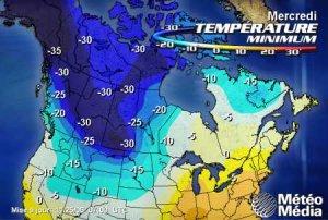 Température minimum au Canada le 29 novembre 2006