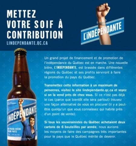 Une véritable bière indépendantiste!