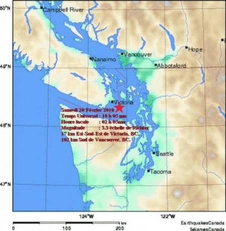 Séisme dans les environs de l'Île de Vancouver