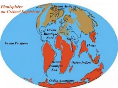 Planisphère au crétacé supérieur