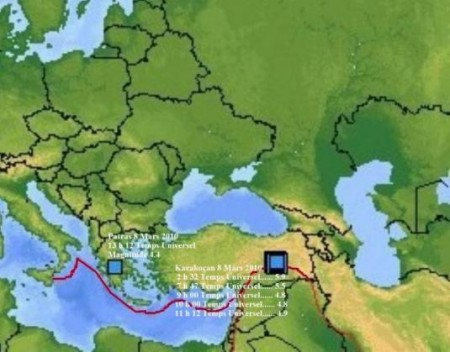 Carte des tremblements de terre en Grèce et Turquie