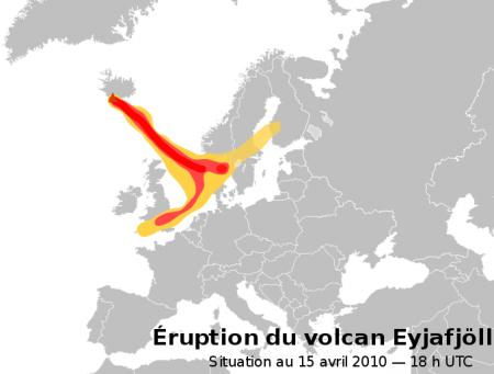 Cendres du volcan Islandais couvrant l'Europe