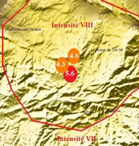 Carte du séisme en Afghanistan