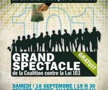 Soyez du grand spectacle contre la loi 103 à Montréal le 18 septembre!