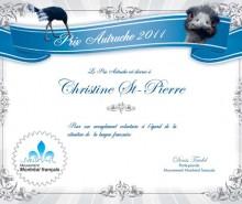 La ministre Saint-Pierre décroche le prix Autruche pour l'ensemble de son oeuvre