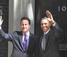 Rencontre de Barack Obama et David Cameron à Londres