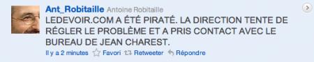 Tweet d'Antoine Robitaille sur la mort de Jean Charest