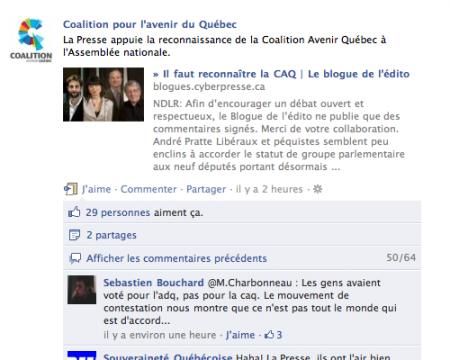 La CAQ s'empresse de partager sur Facebook que la Presse la supporte