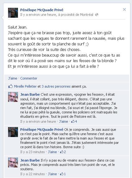 Pénélope Mcquade questionne Jean Barbe sur Facebook