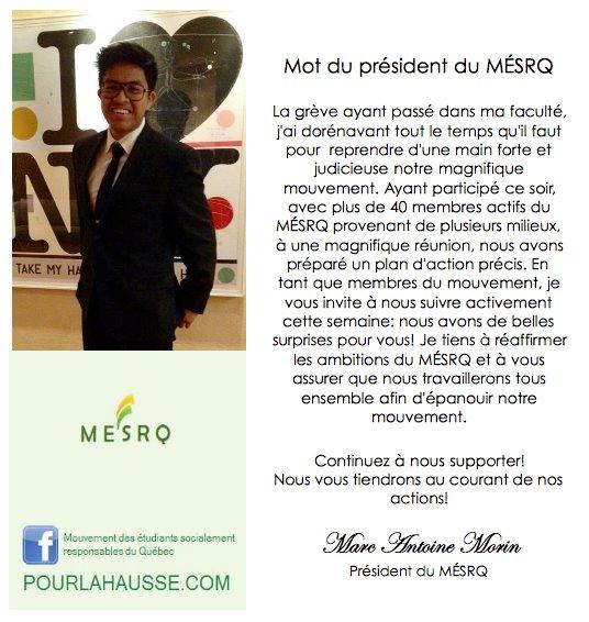 Marc-Antoine Morin, président autoproclamé du MESRQ