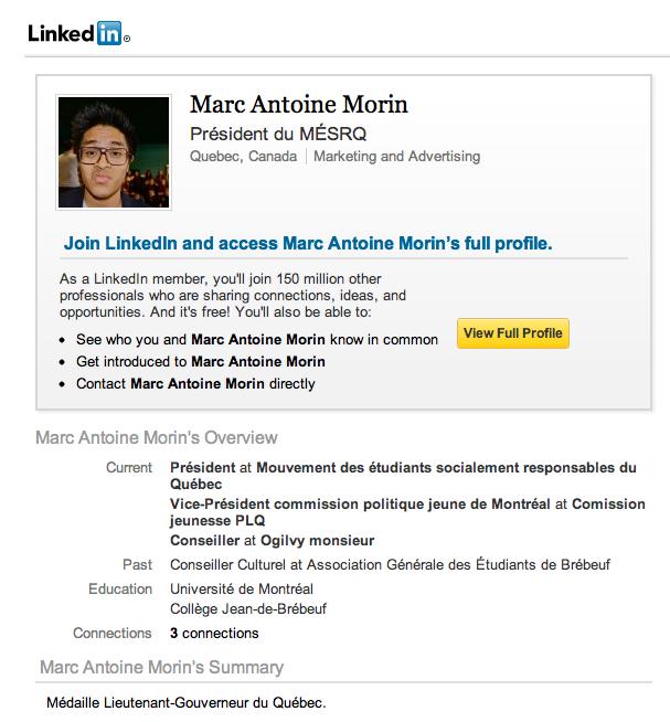 Marc-Antoine Morin sur LinkedIn
