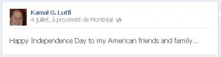 Kamal Facebook aime independance des USA