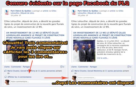 Le PLQ censure sur Facebook