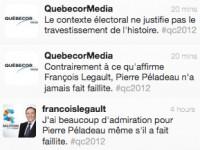 Faillite de Pierre Péladeau: Quebecor désavoue François Legault
