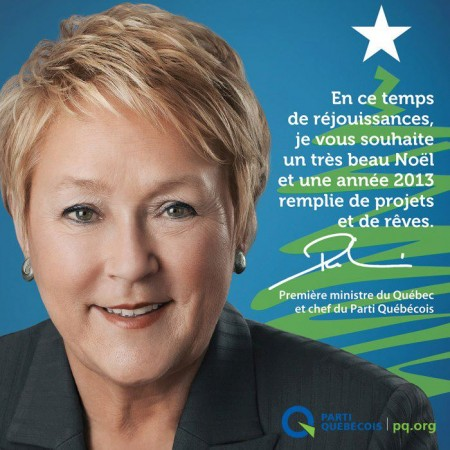 Pauline Marois - Joyeuses fetes - Parti québécois