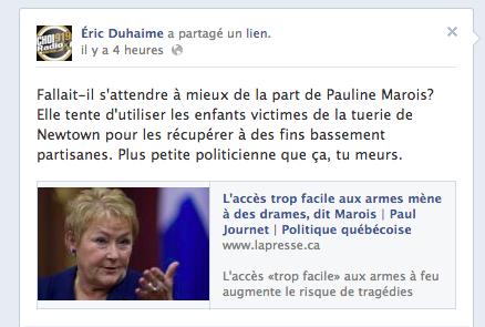 Éric Duhaime identifie sa proie, Pauline Marois